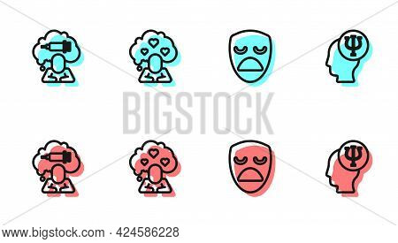 Set Line Drama Theatrical Mask, Addiction To Drug, Broken Heart Or Divorce And Psychology, Psi Icon.