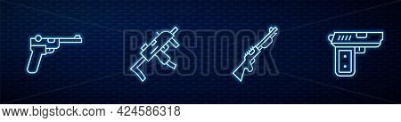 Set Line Hunting Gun, Mauser, Mp9i Submachine And Pistol Or. Glowing Neon Icon On Brick Wall. Vector