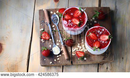 Chia Yogurt In Cups With Strawberries And Seeds. Healthly Food. Keto Breakfast Or Snack.