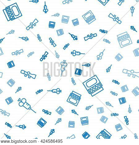 Set Line Syringe, Matchbox And Matches And Sniper Optical Sight On Seamless Pattern. Vector