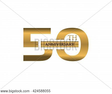 50th Anniversary Logotype Design, Fifty Years Celebrate Anniversary Logo Golden, Elegant Classic Log