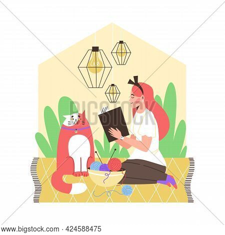 Girl Introvert Sitting On Floor With Cat And Reading Book Alone At Cozy Home.