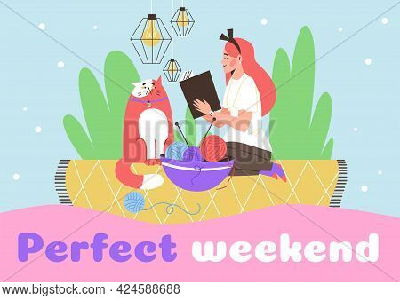 Banner With Woman Enjoying Perfect Weekend At Home, Flat Vector Illustration.