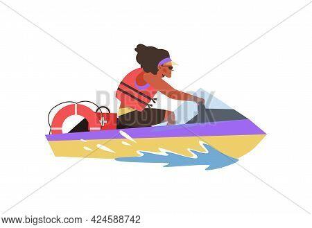 Lifeguard Riding On Rescue Patrol Jet Ski, Flat Vector Illustration Isolated.