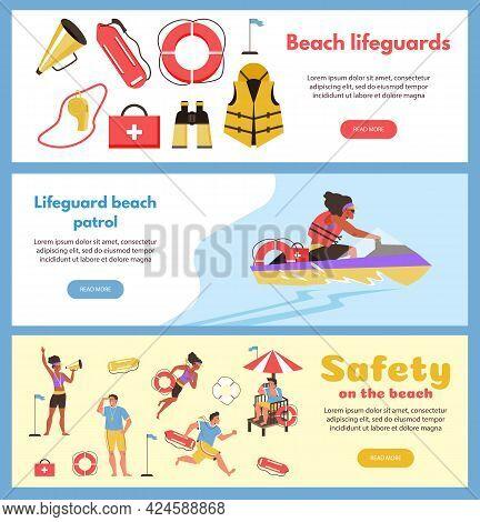 Beach Lifeguards Patrol Banners Or Flyers Set, Flat Vector Illustration.