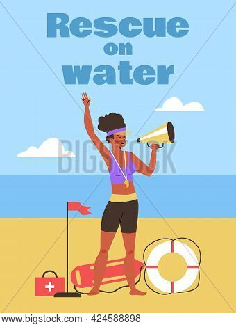 Rescue On Water Banner Or Poster With Female Lifeguard Flat Vector Illustration.