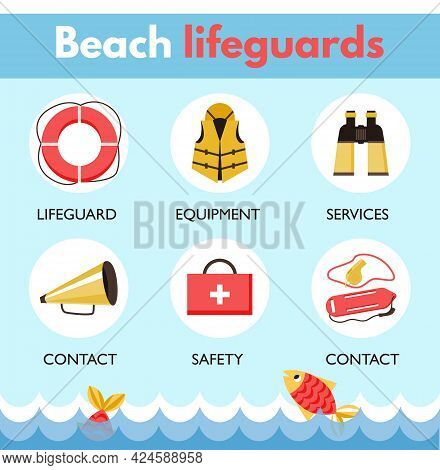 Lifeguard Beach Patrol Icons Infographic Set, Flat Vector Illustration Isolated.