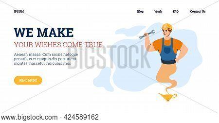 Website Page With Repairman Looking Like Genie, Cartoon Vector Illustration.