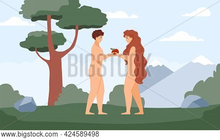 Background With Bible Adam And Eve In Paradise, Flat Vector Illustration.