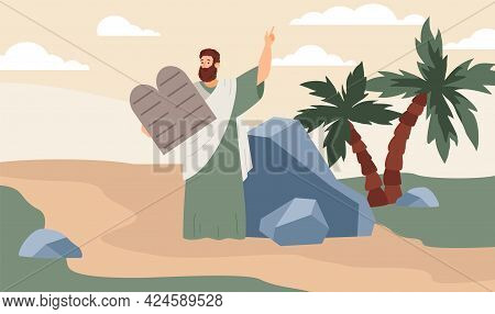 Prophet Moses Stand On Mountain Sinai Hold Stone Tablets With Ten Commandments