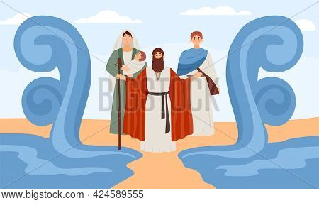Biblical Miracle Of Moses Prophet Splitting The Sea, Flat Vector Illustration.