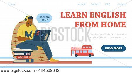 Learning English At Home Web Banner With Studying Ma, Flat Vector Illustration.