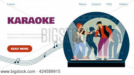 Karaoke Club Website With Group Of Friends Singing, Flat Vector Illustration.
