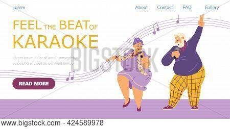 Karaoke Website Template With Funny Elderly People Flat Vector Illustration.