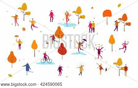Crowd Of Tiny People Dressed In Autumn Clothes Or Outerwear Walking On Street And Performing Outdoor