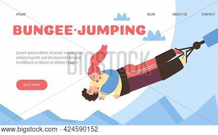 Bungee Jumping Website With Couple Making Risky Jump, Flat Vector Illustration.