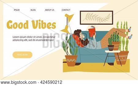 Good Vibes Website Header With Woman Reading At Home, Flat Vector Illustration.