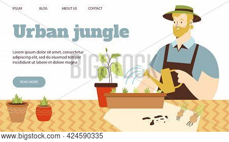 Urban Jungle Banner With Man Watering Houseplants, Flat Vector Illustration.