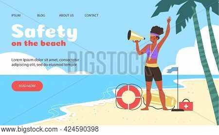 Safety On The Beach Website Design With Lifeguard, Flat Vector Illustration.