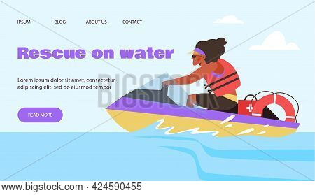 Rescue On Water Team Banner With Lifeguard On Jet Ski, Flat Vector Illustration.