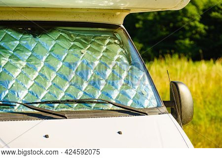 Camper With Internal Thermal Screen Blind At Window Pane Camping On Nature In Summer. Caravan Vacati