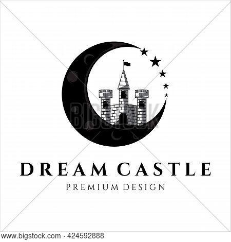 Castle Logo Vintage Vector Illustration Template Icon Design. Dream Castle For Fantasy Architecture