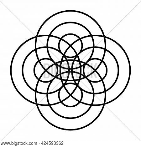 Symbol Made Of Concentric Circles. At Four Different Points, Three Waves Spread Out Concentrically,