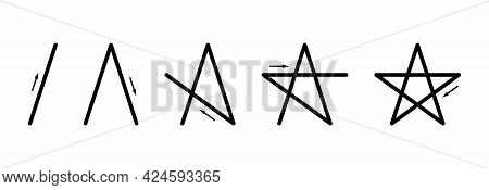 How To Draw A Regular Pentagram Without Lifting The Pen. A Five-pointed Star, Also Pentalpha, Pentac
