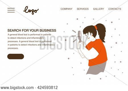 Vector Web Page Of The Concept Of Search With A Person. Web Template People Look To The Future In Se