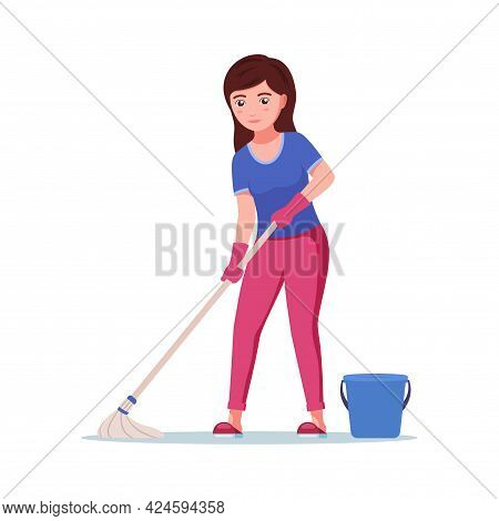 Girl Washes The Floor. Young Beautiful Happy Woman Cleans The Floor With A Wet Mop. Housekeeper Does