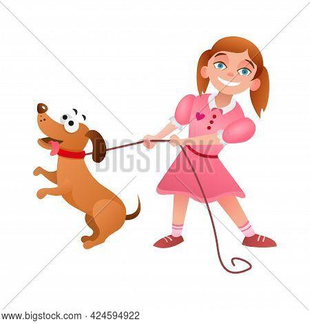 Little Girl Walks Dog On Leash. Cartoon Characters. Vector Illustration