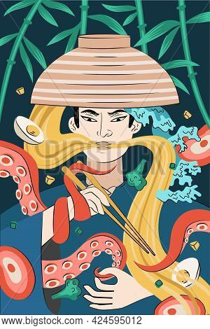 Japanese Food Ramen Poster Hand-drawn Design. Japan National Noodle Dish. Squid Or Octopus Tentacles