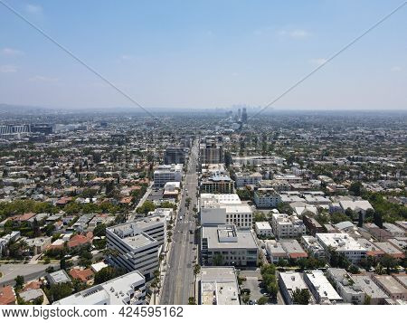 Aerial View Of The Luxury Shopping Area Of Rodeo Drive In Beverly Hills, Los Angeles, California, Us