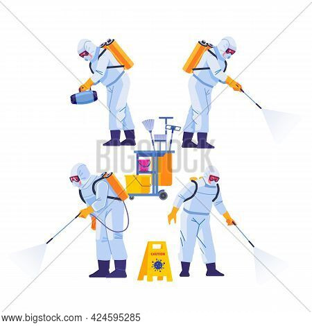 Covid-21 Coronavirus Disinfect. Disinfecting Workers Wear Protective Masks And Spacesuits Against Pa