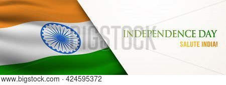 Indian Independence Day Horizontal Greeting Banner. Indian National Holiday 15th Of August. 3d Vecto