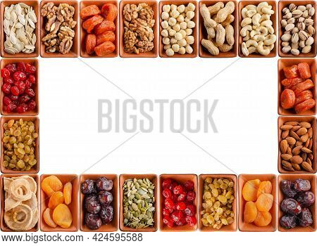 Seamless Flat Lay Food Frame Of Dehydrated Fruits, Seeds And Nuts On White. Non-perishable Antioxida