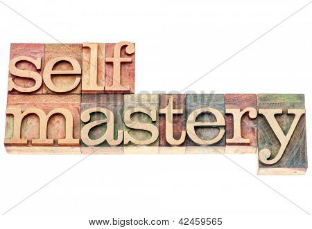 selfmastery word - isolated text in vintage letterpress wood type printing blocks