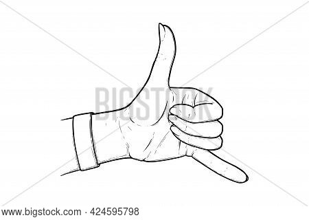 Shaka Sign Or Hang Loose. Aloha And Shaka Surfers Hand Gesture Isolated In White Background. Outline