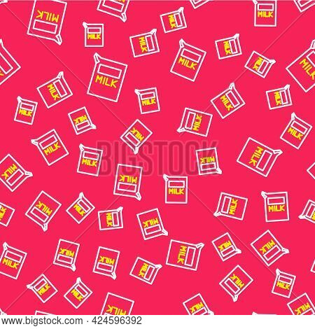 Line Paper Package For Milk Icon Isolated Seamless Pattern On Red Background. Milk Packet Sign. Vect