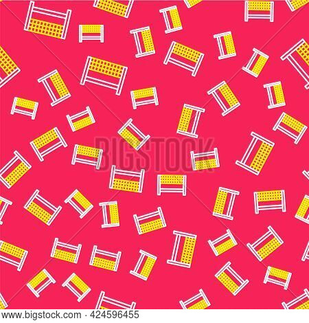 Line Ribbon In Finishing Line Icon Isolated Seamless Pattern On Red Background. Symbol Of Finish Lin