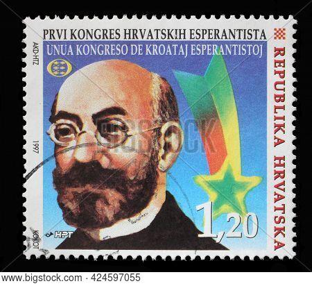 ZAGREB, CROATIA - AUGUST 29, 2014: A stamp printed in Croatia shows Ludwik Lejzer Zamenhof, First Congress of Croatian Esperantists, circa 1997