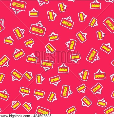 Line Hanging Sign With Text Sold Icon Isolated Seamless Pattern On Red Background. Sold Sticker. Sol