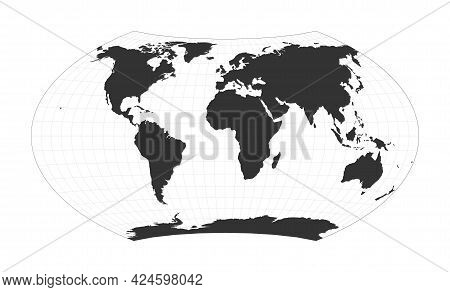 Map Of The World. Wagner Projection. Globe With Latitude And Longitude Net. World Map On Meridians A