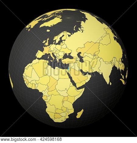 Israel On Dark Globe With Yellow World Map. Country Highlighted With Blue Color. Satellite World Pro