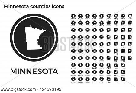 Minnesota Counties Icons. Black Round Logos With Us State Counties Maps And Titles. Vector Illustrat