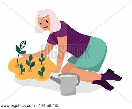 An Older Woman, A Grandmother, Is Planting Plants In The Garden. Elderly People Are Cartoon Characte