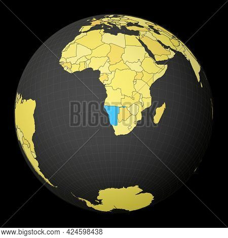 Namibia On Dark Globe With Yellow World Map. Country Highlighted With Blue Color. Satellite World Pr