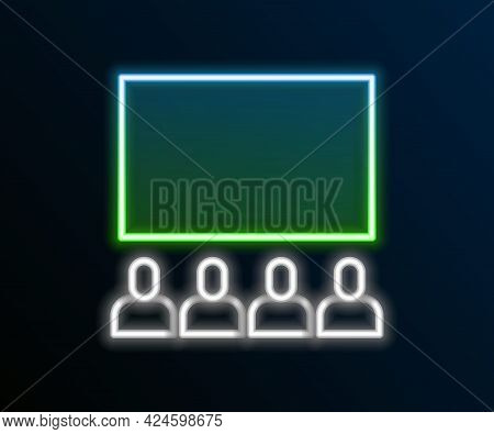 Glowing Neon Line Cinema Auditorium With Screen Icon Isolated On Black Background. Colorful Outline