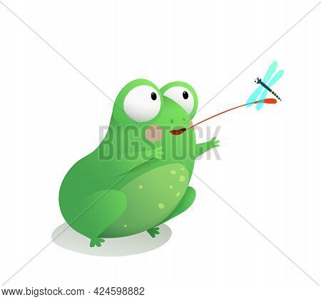 Cute Frog Or Toad Sitting Catching A Dragonfly With Its Long Tongue. Funny Adorable Frog For Childre