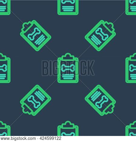 Line Clipboard With Medical Clinical Record Pet Icon Isolated Seamless Pattern On Blue Background. H